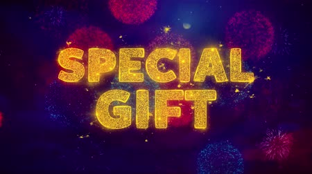 cupom : Special Gift Text on Colorful Firework Explosion Particles. Sale, Discount Price, Off Deals, Offer promotion offer percent discount ads 4K Loop Animation. Vídeos