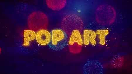 popart : Pop Art Text on Colorful Firework Explosion Particles. Sale, Discount Price, Off Deals, Offer promotion offer percent discount ads 4K Loop Animation.