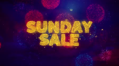mais : Sunday Sale Text on Colorful Firework Explosion Particles. Sale, Discount Price, Off Deals, Offer promotion offer percent discount ads 4K Loop Animation. Stock Footage