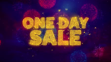 only today : One Day Sale Text on Colorful Firework Explosion Particles. Sale, Discount Price, Off Deals, Offer promotion offer percent discount ads 4K Loop Animation.
