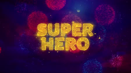 livraria : Super Hero Text on Colorful Firework Explosion Particles. Sale, Discount Price, Off Deals, Offer promotion offer percent discount ads 4K Loop Animation. Stock Footage