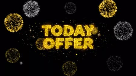 only today : Today Offer Text Reveal on Glitter Golden Particles Firework. Sale, Discount Price, Off Deals, Offer promotion offer percent discount ads 4K Loop Animation.