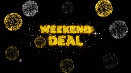 cupom : Weekend Deal Text Reveal on Glitter Golden Particles Firework. Sale, Discount Price, Off Deals, Offer promotion offer percent discount ads 4K Loop Animation. Vídeos