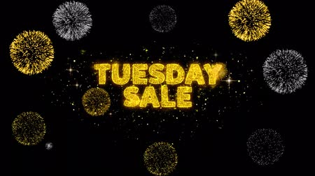 напоминать : Tuesday Sale Text Reveal on Glitter Golden Particles Firework. Sale, Discount Price, Off Deals, Offer promotion offer percent discount ads 4K Loop Animation.