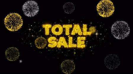 celkový : Total Sale Text Reveal on Glitter Golden Particles Firework. Sale, Discount Price, Off Deals, Offer promotion offer percent discount ads 4K Loop Animation.