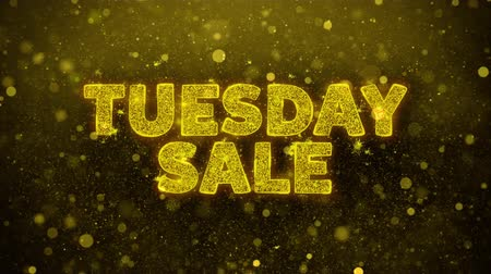 úterý : Tuesday Sale Text Golden Glitter Glowing Lights Shine Particles. Sale, Discount Price, Off Deals, Offer promotion offer percent discount ads 4K Loop Animation.
