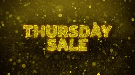 čtvrtek : Thursday Sale Text Golden Glitter Glowing Lights Shine Particles. Sale, Discount Price, Off Deals, Offer promotion offer percent discount ads 4K Loop Animation.