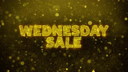 mais : Wednesday Sale Text Golden Glitter Glowing Lights Shine Particles. Sale, Discount Price, Off Deals, Offer promotion offer percent discount ads 4K Loop Animation. Stock Footage
