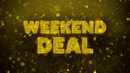 por cento : Weekend Deal Text Golden Glitter Glowing Lights Shine Particles. Sale, Discount Price, Off Deals, Offer promotion offer percent discount ads 4K Loop Animation. Vídeos