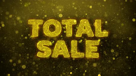 cupom : Total Sale Text Golden Glitter Glowing Lights Shine Particles. Sale, Discount Price, Off Deals, Offer promotion offer percent discount ads 4K Loop Animation.