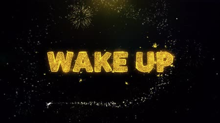 acorde : Wake Up Text on Gold Glitter Particles Spark Exploding Fireworks Display. Sale, Discount Price, Off Deals, Offer Promotion Offer Percent Discount ads 4K Loop Animation. Stock Footage