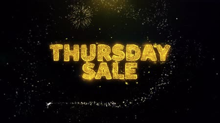 monção : Thursday Sale Text on Gold Glitter Particles Spark Exploding Fireworks Display. Sale, Discount Price, Off Deals, Offer Promotion Offer Percent Discount ads 4K Loop Animation.