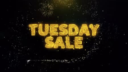 cupom : Tuesday Sale Text on Gold Glitter Particles Spark Exploding Fireworks Display. Sale, Discount Price, Off Deals, Offer Promotion Offer Percent Discount ads 4K Loop Animation.