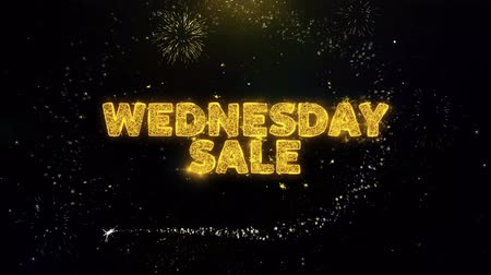 dnes : Wednesday Sale Text on Gold Glitter Particles Spark Exploding Fireworks Display. Sale, Discount Price, Off Deals, Offer Promotion Offer Percent Discount ads 4K Loop Animation.