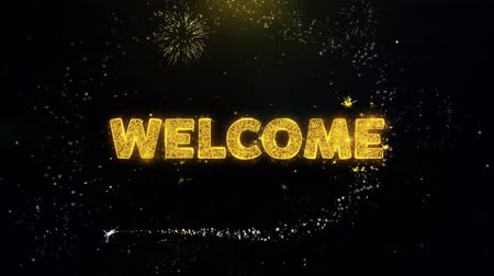 cupom : Welcome Text on Gold Glitter Particles Spark Exploding Fireworks Display. Sale, Discount Price, Off Deals, Offer Promotion Offer Percent Discount ads 4K Loop Animation.