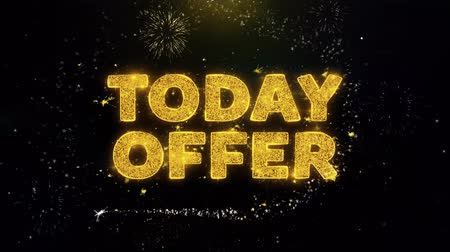 only today : Today Offer Text on Gold Glitter Particles Spark Exploding Fireworks Display. Sale, Discount Price, Off Deals, Offer Promotion Offer Percent Discount ads 4K Loop Animation.