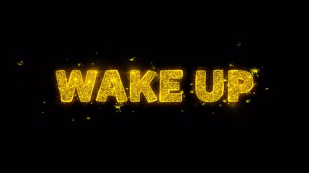 последний : Wake Up Text Sparks Glitter Particles on Black Background. Sale, Discount Price, Off Deals, Offer promotion offer percent discount ads 4K Loop Animation.