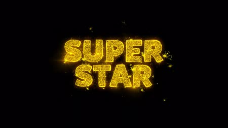 goedkoop : Super Star Text Sparks Glitter Particles on Black Background. Sale, Discount Price, Off Deals, Offer promotion offer percent discount ads 4K Loop Animation. Stockvideo