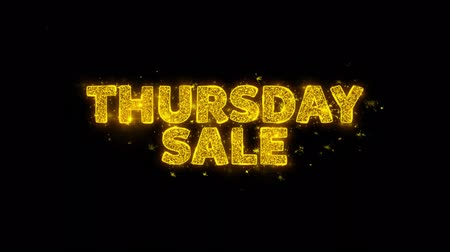 čtvrtek : Thursday Sale Text Sparks Glitter Particles on Black Background. Sale, Discount Price, Off Deals, Offer promotion offer percent discount ads 4K Loop Animation. Dostupné videozáznamy