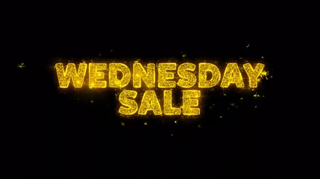 čtvrtek : Wednesday Sale Text Sparks Glitter Particles on Black Background. Sale, Discount Price, Off Deals, Offer promotion offer percent discount ads 4K Loop Animation.