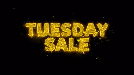 úterý : Tuesday Sale Text Sparks Glitter Particles on Black Background. Sale, Discount Price, Off Deals, Offer promotion offer percent discount ads 4K Loop Animation. Dostupné videozáznamy