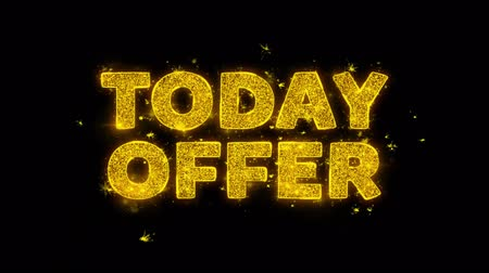 only today : Today Offer Text Sparks Glitter Particles on Black Background. Sale, Discount Price, Off Deals, Offer promotion offer percent discount ads 4K Loop Animation.