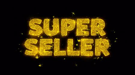 végső : Super Seller Text Sparks Glitter Particles on Black Background. Sale, Discount Price, Off Deals, Offer promotion offer percent discount ads 4K Loop Animation.
