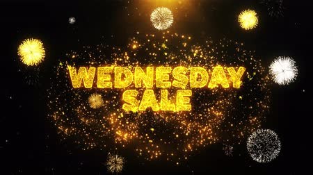 среда : Wednesday Sale Text on Firework Display Explosion Particles. Sale, Discount Price, Off Deals, Offer promotion offer percent discount ads 4K Loop Animation.
