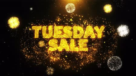 cupom : Tuesday Sale Text on Firework Display Explosion Particles. Sale, Discount Price, Off Deals, Offer promotion offer percent discount ads 4K Loop Animation.