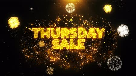 čtvrtek : Thursday Sale Text on Firework Display Explosion Particles. Sale, Discount Price, Off Deals, Offer promotion offer percent discount ads 4K Loop Animation.