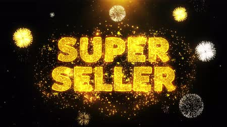 рекламный : Super Seller Text on Firework Display Explosion Particles. Sale, Discount Price, Off Deals, Offer promotion offer percent discount ads 4K Loop Animation.