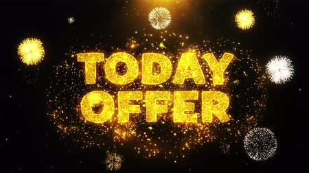only today : Today Offer Text on Firework Display Explosion Particles. Sale, Discount Price, Off Deals, Offer promotion offer percent discount ads 4K Loop Animation. Stock Footage