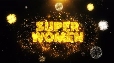 cupom : Super Women Text on Firework Display Explosion Particles. Sale, Discount Price, Off Deals, Offer promotion offer percent discount ads 4K Loop Animation.