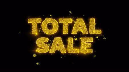 çetele : Total Sale Text Sparks Glitter Particles on Black Background. Sale, Discount Price, Off Deals, Offer promotion offer percent discount ads 4K Loop Animation.