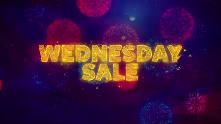 více barevné : Wednesday Sale Text on Colorful Firework Explosion Particles. Sale, Discount Price, Off Deals, Offer promotion offer percent discount ads 4K Loop Animation.