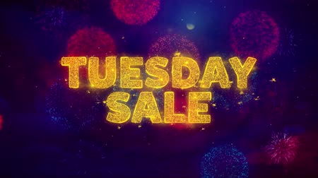 úterý : Tuesday Sale Text on Colorful Firework Explosion Particles. Sale, Discount Price, Off Deals, Offer promotion offer percent discount ads 4K Loop Animation.