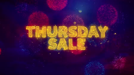 čtvrtek : Thursday Sale Text on Colorful Firework Explosion Particles. Sale, Discount Price, Off Deals, Offer promotion offer percent discount ads 4K Loop Animation.