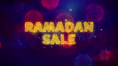 рекламный : Ramadan Sale Text on Colorful Firework Explosion Particles. Sale, Discount Price, Off Deals, Offer promotion offer percent discount ads 4K Loop Animation.