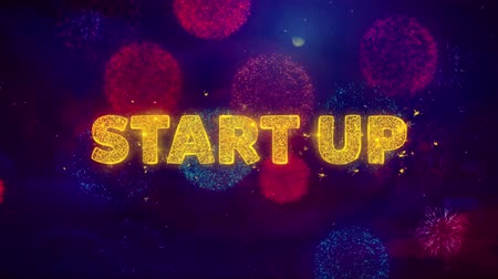 por cento : Start Up Text on Colorful Firework Explosion Particles. Sale, Discount Price, Off Deals, Offer promotion offer percent discount ads 4K Loop Animation.