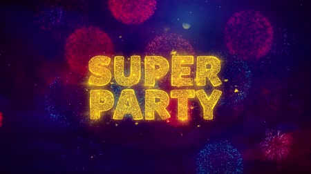 cupom : Super Party Text on Colorful Firework Explosion Particles. Sale, Discount Price, Off Deals, Offer promotion offer percent discount ads 4K Loop Animation. Vídeos
