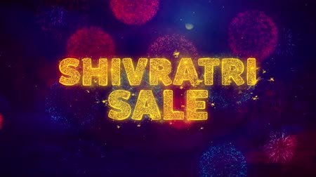 cabeçalho : Shivratri Sale Text on Colorful Firework Explosion Particles. Sale, Discount Price, Off Deals, Offer promotion offer percent discount ads 4K Loop Animation.