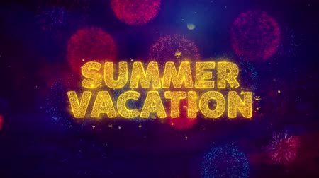 hvězdice : Summer Vacation Text on Colorful Firework Explosion Particles. Sale, Discount Price, Off Deals, Offer promotion offer percent discount ads 4K Loop Animation.