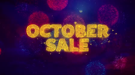 autumn discounts : October Sale Text on Colorful Firework Explosion Particles. Sale, Discount Price, Off Deals, Offer promotion offer percent discount ads 4K Loop Animation.