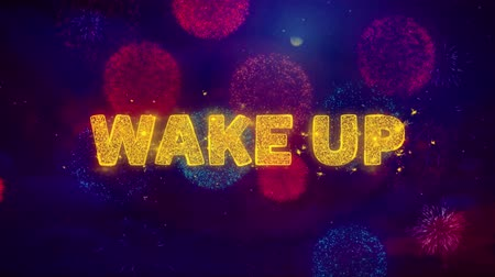 cronômetro : Wake Up Text on Colorful Firework Explosion Particles. Sale, Discount Price, Off Deals, Offer promotion offer percent discount ads 4K Loop Animation.