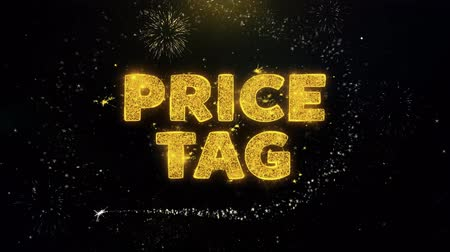 cupom : Price Tag Text on Gold Glitter Particles Spark Exploding Fireworks Display. Sale, Discount Price, Off Deals, Offer Promotion Offer Percent Discount ads 4K Loop Animation.