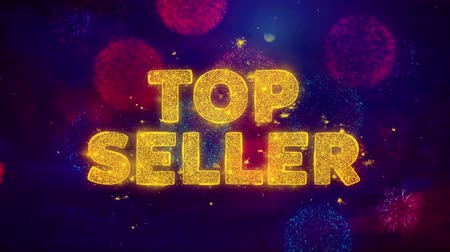 гарантия : Top Seller Text on Colorful Firework Explosion Particles. Sale, Discount Price, Off Deals, Offer promotion offer percent discount ads 4K Loop Animation.