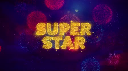mega : Super Star Text on Colorful Firework Explosion Particles. Sale, Discount Price, Off Deals, Offer promotion offer percent discount ads 4K Loop Animation.