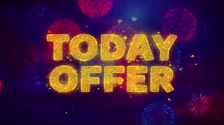 cupom : Today Offer Text on Colorful Firework Explosion Particles. Sale, Discount Price, Off Deals, Offer promotion offer percent discount ads 4K Loop Animation.