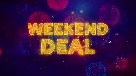 クリアランス : Weekend Deal Text on Colorful Firework Explosion Particles. Sale, Discount Price, Off Deals, Offer promotion offer percent discount ads 4K Loop Animation. 動画素材