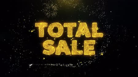 végső : Total Sale Text on Gold Glitter Particles Spark Exploding Fireworks Display. Sale, Discount Price, Off Deals, Offer Promotion Offer Percent Discount ads 4K Loop Animation. Stock mozgókép